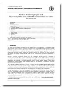 Residues of Veterinary Drugs in Food Fao... by Food and Agriculture Organization of the United Na...