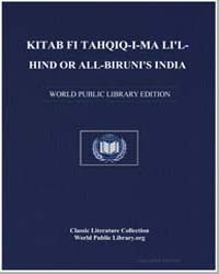 Critical Study of What India Says, Wheth... by Bīrūnī, Muhammad ibn Ahmad