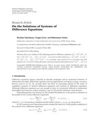 Advances in Difference Equations : May 2... Volume Issue : May 2008 by Agarwal, Ravi P.