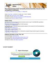 Applied Physics Letters : The enhancemen... Volume Issue : December 2008 by F. Fang, D. X. Zhao, B. H. Li, Z. Z. Zhang, J. Y. ...