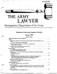 The Army Lawyer : January 1989 ; Da Pam ... Volume January 1989 ; DA PAM 27-50-193 by Alcala, Ronald T. P.