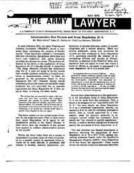 The Army Lawyer : May 1974 ; Da Pam 27-5... Volume May 1974 ; DA PAM 27-50-17 by Alcala, Ronald T. P.