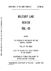 Military Law Review : January 1969 ; Vol... by Department of the Army, Headquarters