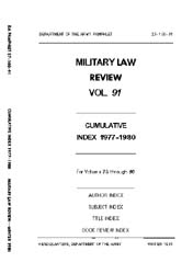 Military Law Review : January 1981 ; Vol... by Department of the Army, Headquarters