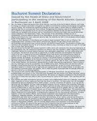 Bucharest Summit Declaration Issued by t... by North Atlantic Treaty Organization