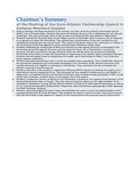 Chairmans Summary of the Meeting of the... by North Atlantic Treaty Organization