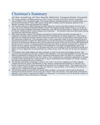 Chairman's Summary of the meeting of the... by North Atlantic Treaty Organization