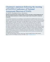 Chairman's statement following the meeti... by North Atlantic Treaty Organization