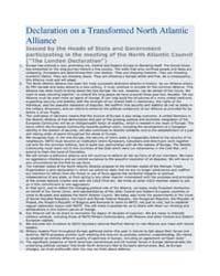 Declaration on a Transformed North Atlan... by North Atlantic Treaty Organization