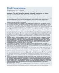 Final Communiqué Chairman: Mr. J. Luns by North Atlantic Treaty Organization