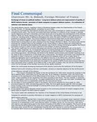 Final Communiqué Chairman: Mr. G. Bidaul... by North Atlantic Treaty Organization