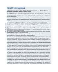 Final Communiqué by North Atlantic Treaty Organization