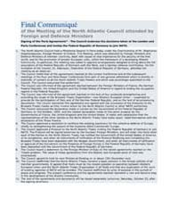 Final Communiqué of the Meeting of the N... by North Atlantic Treaty Organization