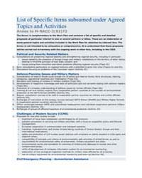 List of Specific Items subsumed under Ag... by North Atlantic Treaty Organization