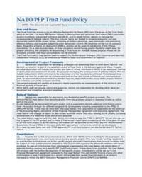 NATO/PFP Trust Fund Policy by North Atlantic Treaty Organization