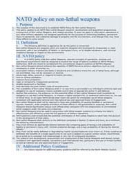 NATO policy on non-lethal weapons by North Atlantic Treaty Organization