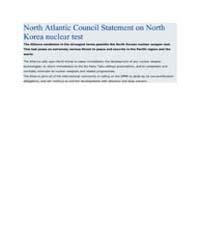 North Atlantic Council Statement on Nort... by North Atlantic Treaty Organization