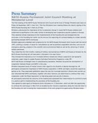 Press Summary NATO-Russia Permanent Join... by North Atlantic Treaty Organization