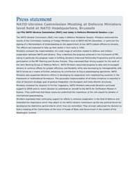 Press statement NATO-Ukraine Commission ... by North Atlantic Treaty Organization