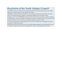 Resolution of the North Atlantic Council by North Atlantic Treaty Organization