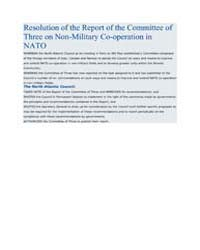 Resolution of the Report of the Committe... by North Atlantic Treaty Organization