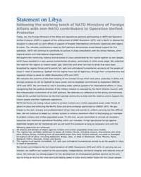 Statement on Libya following the working... by North Atlantic Treaty Organization