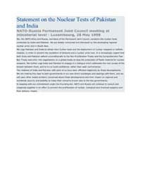Statement on the Nuclear Tests of Pakist... by North Atlantic Treaty Organization