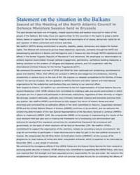 Statement on the situation in the Balkan... by North Atlantic Treaty Organization