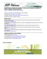 Physics of Plasmas : Cutoff criteria of ... Volume Issue : November 2008 by D. Bruno, M. Capitelli, C. Catalfamo, and A. Laric...