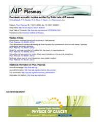 Physics of Plasmas : Geodesic acoustic m... Volume Issue : November 2008 by N. Chakrabarti, P. N. Guzdar, R. G. Kleva, V. Naul...