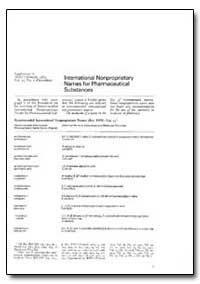 International Non-Proprietary Names : In... by World Health Organization