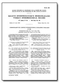 World Health Organization, Weekly Epidem... by Health Section of the Secretariat of the League of...