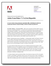 Adobe Framemaker 7. 1 Ya Esta Disponible by Adobe Systems