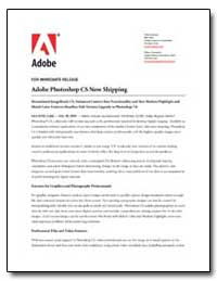 Adobe Photoshop Cs Now Shipping by Adobe Systems