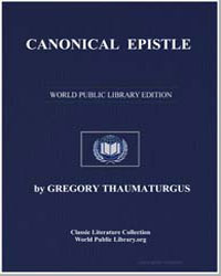 Canonical Epistle by Thaumaturgus, Gregory
