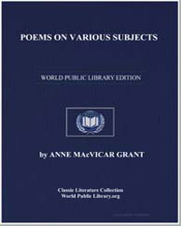 Poems on Various Subjects by Grant, Anne Mac Vicar