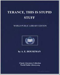 Terance, This Is Stupid Stuff by Housman, Alfred Edward