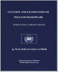 Citation and Examination of William Shak... by Landor, Walter Savage