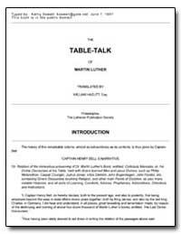The Table-Talk of Martin Luther by Hazlitt, William