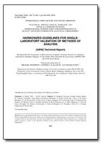 Harmonized Guidelines for Singlelaborato... by Thompson, Michael