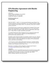 Epa Reaches Agreement with Ritchie Engin... by Environmental Protection Agency