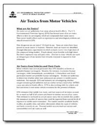 Air Toxics from Motor Vehicles by Environmental Protection Agency