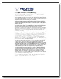 U.S.A. Epa Emissions Limited Warranty by Environmental Protection Agency