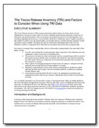 The Toxics Release Inventory (Tri) and F... by Environmental Protection Agency