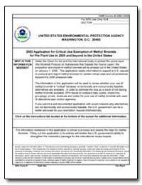 2003 Application for Critical Use Exempt... by Environmental Protection Agency