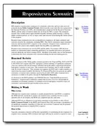 Responsiveness Summaries by Environmental Protection Agency