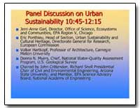 Panel Discussion on Urban Sustainability... by Myers, Donna N.