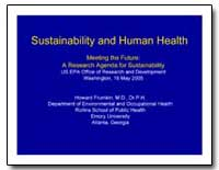 Sustainability and Human Health by Frumkin, Howard
