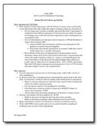 Action Plan for Follow-Up Activity by Environmental Protection Agency