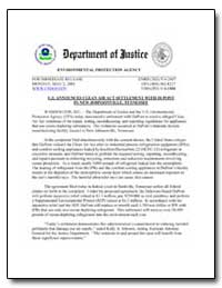 U.S. Announces Clean Air Act Settlement ... by Environmental Protection Agency